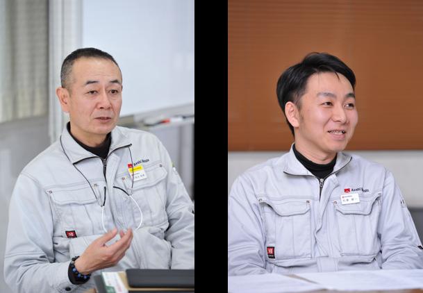 (左)製造部長 小長谷 和寿 氏 (右)企画管理部 総務人事グループ 内藤 健一 氏