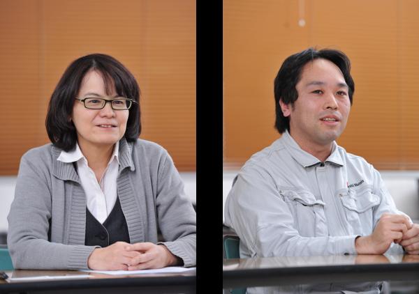 (左)企画管理部 購買グループ 藤江 弘子 氏 (右生産管理課 工程係 櫻井 久弥 氏