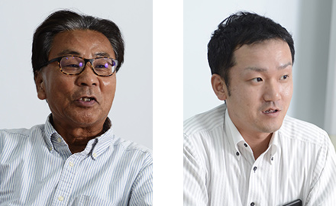 (左)Director, General Manager 池田次男氏、(右)General Manager, Production Section 土居 和憲 氏