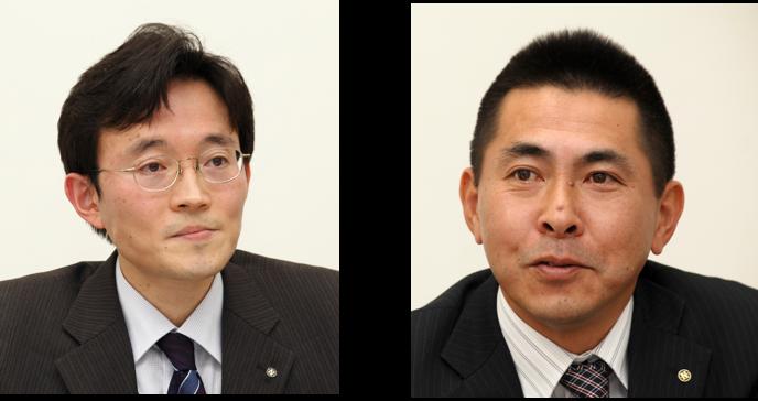 (左)総務本部 総務部 情報システム課 主任 津花 巨樹 氏 (右)関東支社 業務課 課長 平野 明 氏