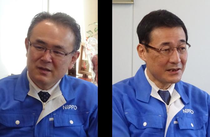 (左)ニッポー株式会社 代表取締役 社長 内田 雅典 氏、(右)ニッポー株式会社 生産本部 顧問 林 幸広 氏