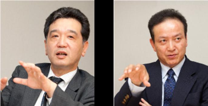 財務部 部長兼情報システム室長 吉田洋憲氏、財務部 主査 若崎広海氏
