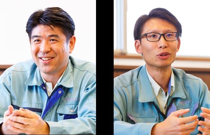 (左)生産管理部 生産管理課 原 竜太郎 氏、(右)購買部 購買課 購買課1係 岡田 敏明 氏